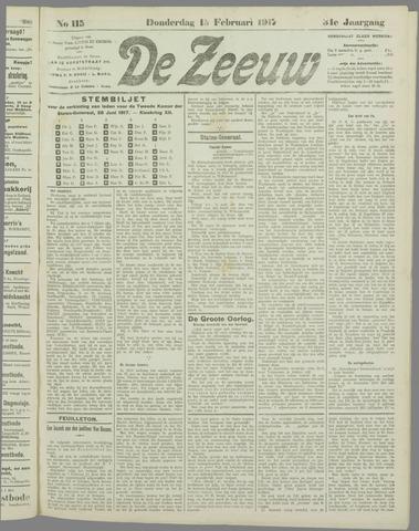 De Zeeuw. Christelijk-historisch nieuwsblad voor Zeeland 1917-02-15