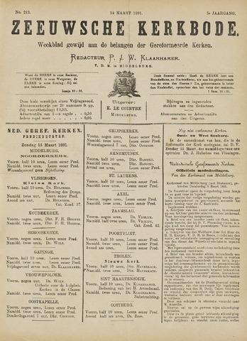 Zeeuwsche kerkbode, weekblad gewijd aan de belangen der gereformeerde kerken/ Zeeuwsch kerkblad 1891-03-14