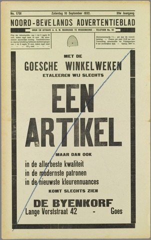 Noord-Bevelands Nieuws- en advertentieblad 1932-09-10