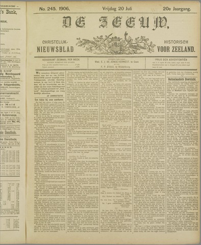 De Zeeuw. Christelijk-historisch nieuwsblad voor Zeeland 1906-07-20