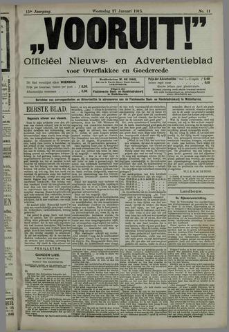 """""""Vooruit!""""Officieel Nieuws- en Advertentieblad voor Overflakkee en Goedereede 1915-01-27"""