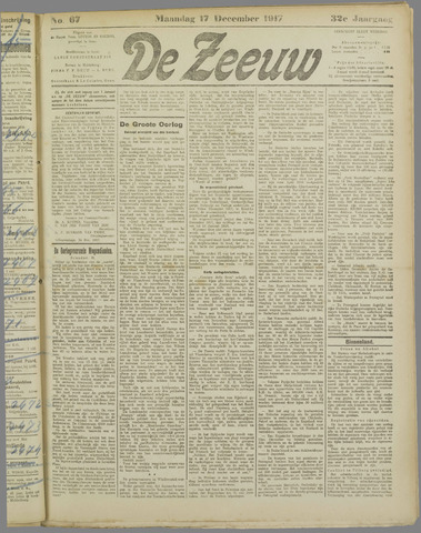 De Zeeuw. Christelijk-historisch nieuwsblad voor Zeeland 1917-12-17