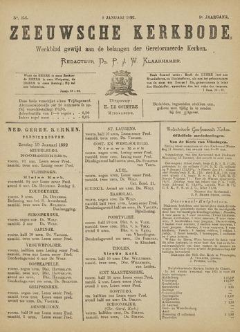 Zeeuwsche kerkbode, weekblad gewijd aan de belangen der gereformeerde kerken/ Zeeuwsch kerkblad 1892-01-09