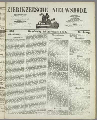 Zierikzeesche Nieuwsbode 1851-11-27