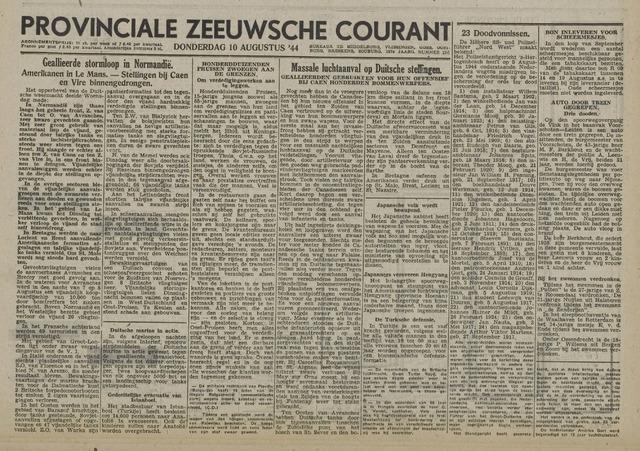 Provinciale Zeeuwse Courant 1944-08-10