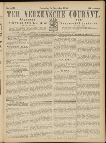 Ter Neuzensche Courant. Algemeen Nieuws- en Advertentieblad voor Zeeuwsch-Vlaanderen / Neuzensche Courant ... (idem) / (Algemeen) nieuws en advertentieblad voor Zeeuwsch-Vlaanderen 1910-11-24