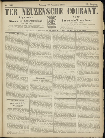 Ter Neuzensche Courant. Algemeen Nieuws- en Advertentieblad voor Zeeuwsch-Vlaanderen / Neuzensche Courant ... (idem) / (Algemeen) nieuws en advertentieblad voor Zeeuwsch-Vlaanderen 1887-11-19