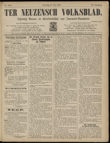 Ter Neuzensch Volksblad. Vrijzinnig nieuws- en advertentieblad voor Zeeuwsch- Vlaanderen / Zeeuwsch Nieuwsblad. Nieuws- en advertentieblad voor Zeeland 1917-06-16