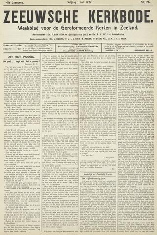 Zeeuwsche kerkbode, weekblad gewijd aan de belangen der gereformeerde kerken/ Zeeuwsch kerkblad 1927-07-01