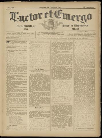 Luctor et Emergo. Antirevolutionair nieuws- en advertentieblad voor Zeeland / Zeeuwsch-Vlaanderen. Orgaan ter verspreiding van de christelijke beginselen in Zeeuwsch-Vlaanderen 1917-02-24