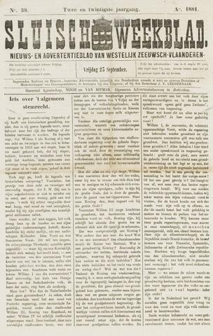 Sluisch Weekblad. Nieuws- en advertentieblad voor Westelijk Zeeuwsch-Vlaanderen 1881-09-23