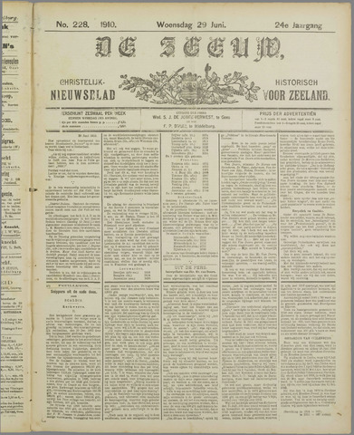 De Zeeuw. Christelijk-historisch nieuwsblad voor Zeeland 1910-06-29
