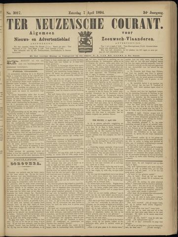Ter Neuzensche Courant. Algemeen Nieuws- en Advertentieblad voor Zeeuwsch-Vlaanderen / Neuzensche Courant ... (idem) / (Algemeen) nieuws en advertentieblad voor Zeeuwsch-Vlaanderen 1894-04-07