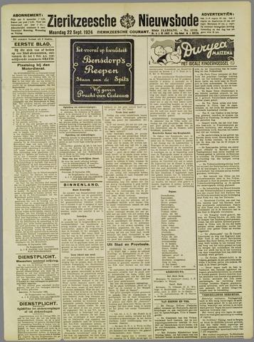 Zierikzeesche Nieuwsbode 1924-09-22