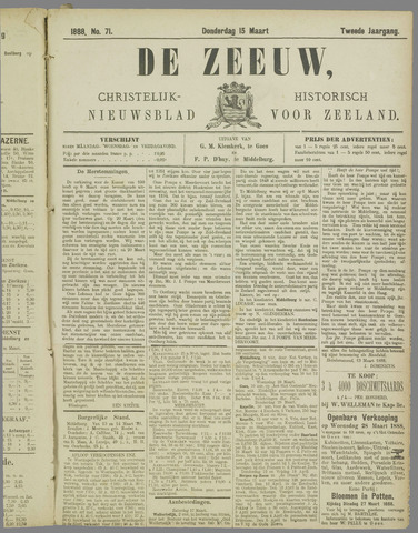 De Zeeuw. Christelijk-historisch nieuwsblad voor Zeeland 1888-03-15