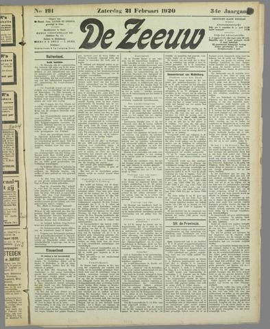 De Zeeuw. Christelijk-historisch nieuwsblad voor Zeeland 1920-02-21