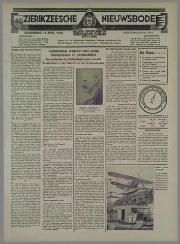 Zierikzeesche Nieuwsbode 1940-04-11