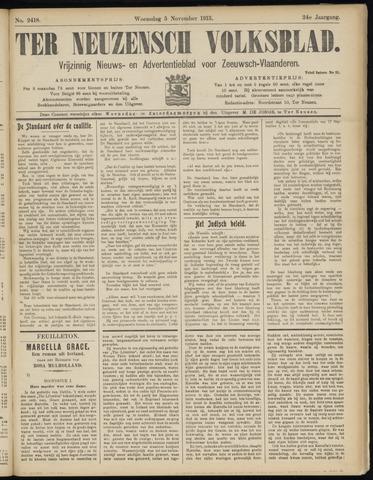 Ter Neuzensch Volksblad. Vrijzinnig nieuws- en advertentieblad voor Zeeuwsch- Vlaanderen / Zeeuwsch Nieuwsblad. Nieuws- en advertentieblad voor Zeeland 1913-11-05