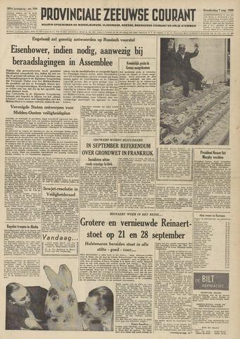 Provinciale Zeeuwse Courant 1958-08-07