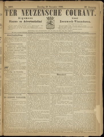 Ter Neuzensche Courant. Algemeen Nieuws- en Advertentieblad voor Zeeuwsch-Vlaanderen / Neuzensche Courant ... (idem) / (Algemeen) nieuws en advertentieblad voor Zeeuwsch-Vlaanderen 1896-11-28