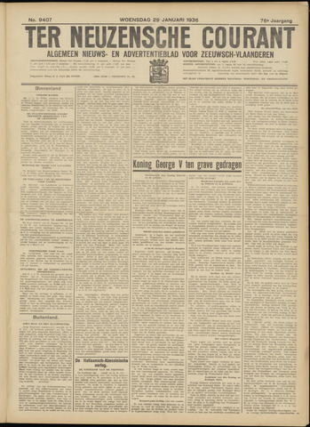 Ter Neuzensche Courant. Algemeen Nieuws- en Advertentieblad voor Zeeuwsch-Vlaanderen / Neuzensche Courant ... (idem) / (Algemeen) nieuws en advertentieblad voor Zeeuwsch-Vlaanderen 1936-01-29