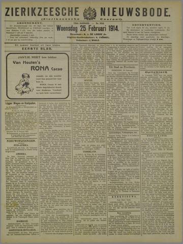 Zierikzeesche Nieuwsbode 1914-02-25