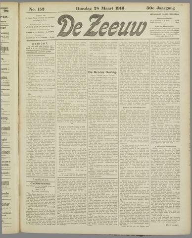 De Zeeuw. Christelijk-historisch nieuwsblad voor Zeeland 1916-03-28
