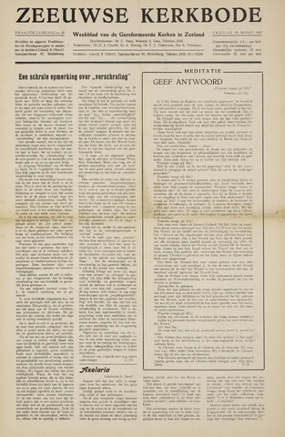 Zeeuwsche kerkbode, weekblad gewijd aan de belangen der gereformeerde kerken/ Zeeuwsch kerkblad 1957-03-29