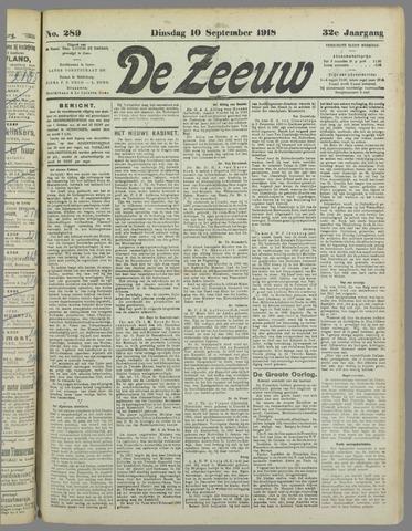 De Zeeuw. Christelijk-historisch nieuwsblad voor Zeeland 1918-09-10