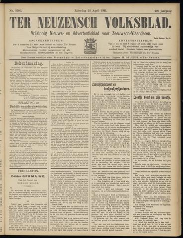 Ter Neuzensch Volksblad. Vrijzinnig nieuws- en advertentieblad voor Zeeuwsch- Vlaanderen / Zeeuwsch Nieuwsblad. Nieuws- en advertentieblad voor Zeeland 1911-04-22