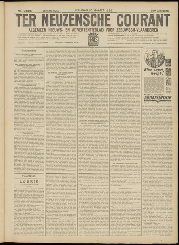 Ter Neuzensche Courant. Algemeen Nieuws- en Advertentieblad voor Zeeuwsch-Vlaanderen / Neuzensche Courant ... (idem) / (Algemeen) nieuws en advertentieblad voor Zeeuwsch-Vlaanderen 1939-03-10