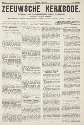 Zeeuwsche kerkbode, weekblad gewijd aan de belangen der gereformeerde kerken/ Zeeuwsch kerkblad 1934-04-27