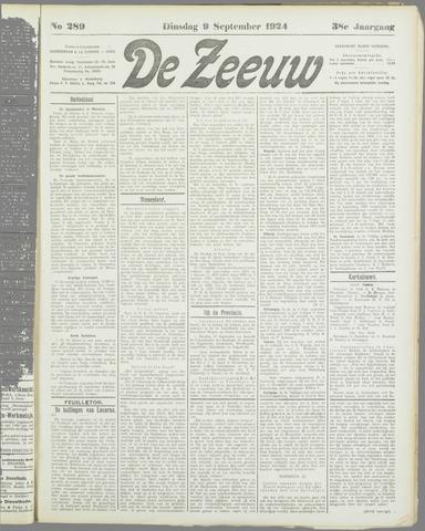 De Zeeuw. Christelijk-historisch nieuwsblad voor Zeeland 1924-09-09