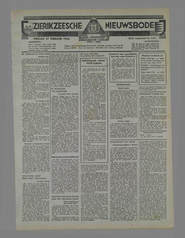 Zierikzeesche Nieuwsbode 1942-02-27