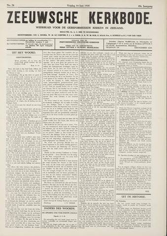 Zeeuwsche kerkbode, weekblad gewijd aan de belangen der gereformeerde kerken/ Zeeuwsch kerkblad 1935-06-14