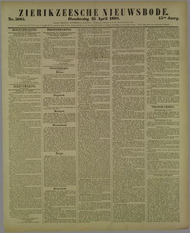 Zierikzeesche Nieuwsbode 1889-04-25