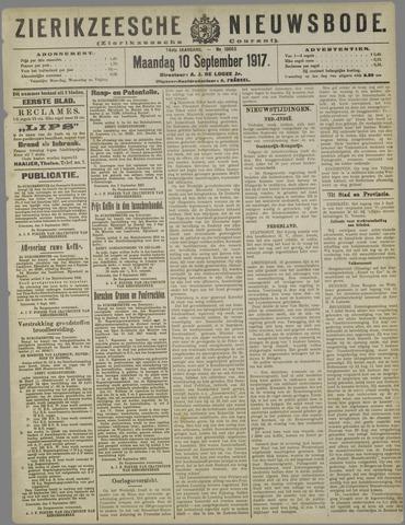 Zierikzeesche Nieuwsbode 1917-09-10