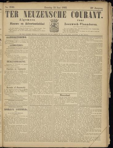 Ter Neuzensche Courant. Algemeen Nieuws- en Advertentieblad voor Zeeuwsch-Vlaanderen / Neuzensche Courant ... (idem) / (Algemeen) nieuws en advertentieblad voor Zeeuwsch-Vlaanderen 1892-06-25