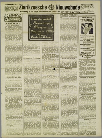 Zierikzeesche Nieuwsbode 1924-07-02