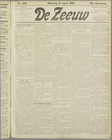 De Zeeuw. Christelijk-historisch nieuwsblad voor Zeeland 1917-04-03