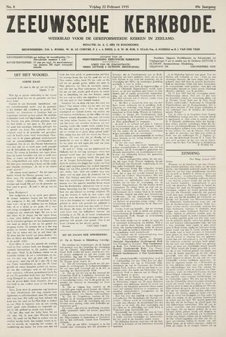 Zeeuwsche kerkbode, weekblad gewijd aan de belangen der gereformeerde kerken/ Zeeuwsch kerkblad 1935-02-22