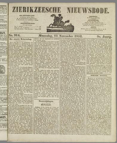 Zierikzeesche Nieuwsbode 1852-11-15