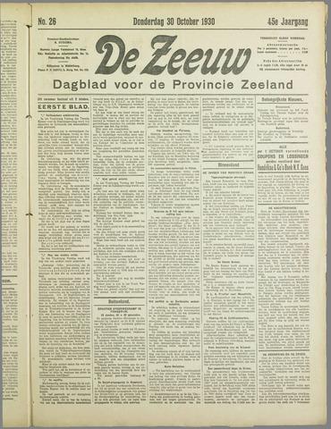 De Zeeuw. Christelijk-historisch nieuwsblad voor Zeeland 1930-10-30