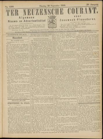 Ter Neuzensche Courant. Algemeen Nieuws- en Advertentieblad voor Zeeuwsch-Vlaanderen / Neuzensche Courant ... (idem) / (Algemeen) nieuws en advertentieblad voor Zeeuwsch-Vlaanderen 1910-09-20