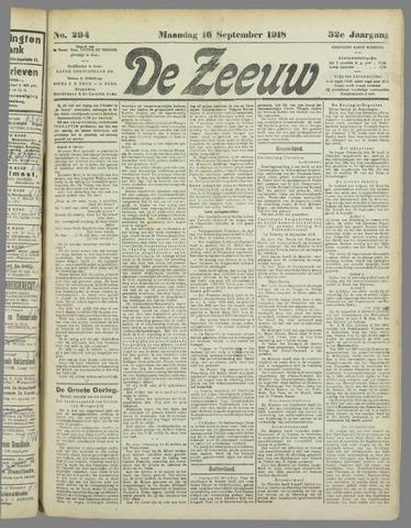 De Zeeuw. Christelijk-historisch nieuwsblad voor Zeeland 1918-09-16