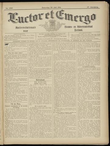 Luctor et Emergo. Antirevolutionair nieuws- en advertentieblad voor Zeeland / Zeeuwsch-Vlaanderen. Orgaan ter verspreiding van de christelijke beginselen in Zeeuwsch-Vlaanderen 1916-07-22
