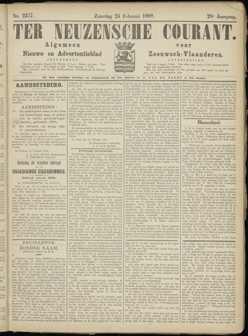 Ter Neuzensche Courant. Algemeen Nieuws- en Advertentieblad voor Zeeuwsch-Vlaanderen / Neuzensche Courant ... (idem) / (Algemeen) nieuws en advertentieblad voor Zeeuwsch-Vlaanderen 1888-02-25