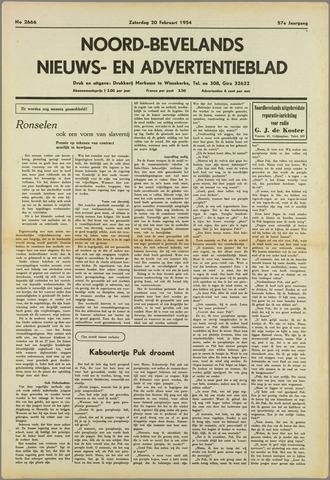 Noord-Bevelands Nieuws- en advertentieblad 1954-02-20