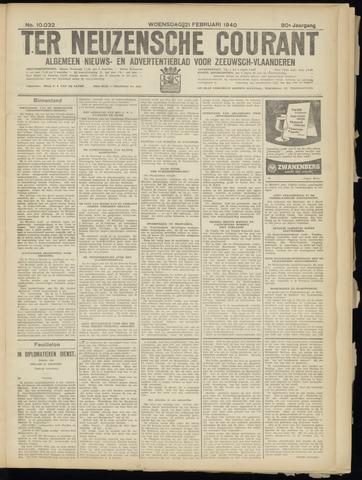 Ter Neuzensche Courant. Algemeen Nieuws- en Advertentieblad voor Zeeuwsch-Vlaanderen / Neuzensche Courant ... (idem) / (Algemeen) nieuws en advertentieblad voor Zeeuwsch-Vlaanderen 1940-02-21
