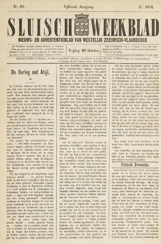Sluisch Weekblad. Nieuws- en advertentieblad voor Westelijk Zeeuwsch-Vlaanderen 1874-10-30